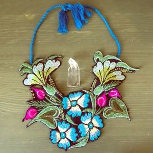 Gorgeous Anthropologie Embroidery Bib Necklace